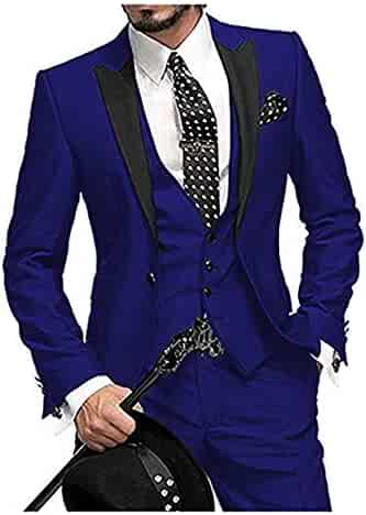 fb7a87f4ea37 Men's Suits 3 Piece Slim Fit One Button Groom Suits Blazer Vest& Pants