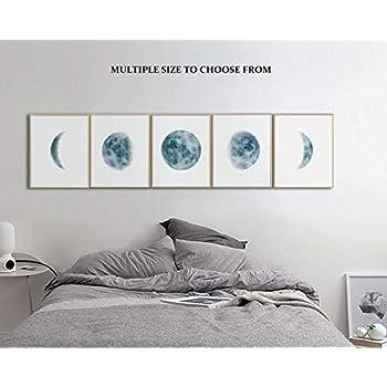 Moon Phases Wall Art Print, Bedroom Wall Art, Wall Art For Bedroom, Moon Phases Prints Set, Indigo Blue Moon Phases, Watercolor Prints, Unframed Prints-Multiple Size