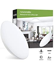 Bathroom Light Fitting Ceiling, Novostella 18W 1800lm LED Circular Lighting IP65 Waterproof, Ø 30cm 12in Daylight White 6000K for Kitchen, Bedroom, Porch, Lounge, Home Office, Outside&Easy to Install