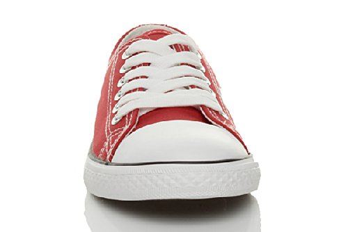 WOMENS LADIES GIRLS LOW TOP LACE UP SPORTY FLAT CANVAS TRAINERS PUMPS SHOES SIZE Red fJxUzbts
