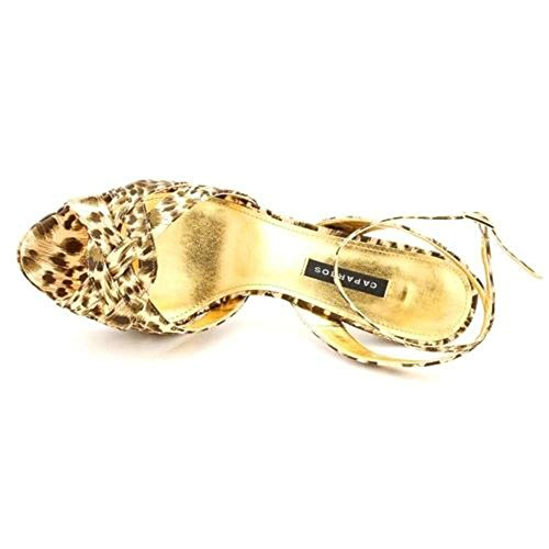 Caparros Womens Makai Open Toe Ankle Strap Platform Pumps Leopard Print CWSfIAfeqO