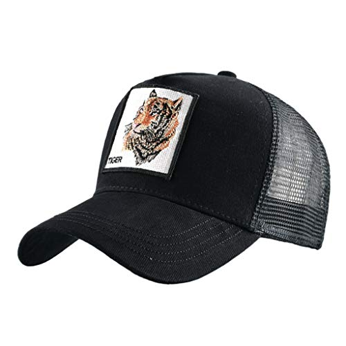 Unisex Animal Mesh Trucker Hat Snap Back Square Patch Baseball Caps (Black Tiger 2, Head Circumference 56-60CM)