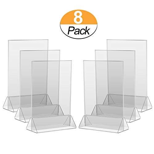 8PCK 4x6 Acrylic Menu Holder/Upright Sign Holder/Clear Table Card Display/Plastic Photo Frame/Wedding Picture Stand