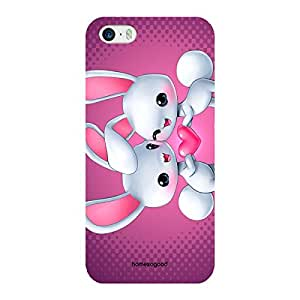 HomeSoGood Beautiful Girly Rabbits Multicolor 3D Mobile Case For iPhone 5 / 5S (Back Cover)