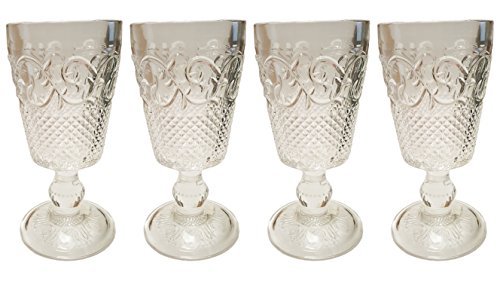 Set of 4 – 13 oz Crystal-clear Stemmed Antique Goblets - Wine Glass Antique