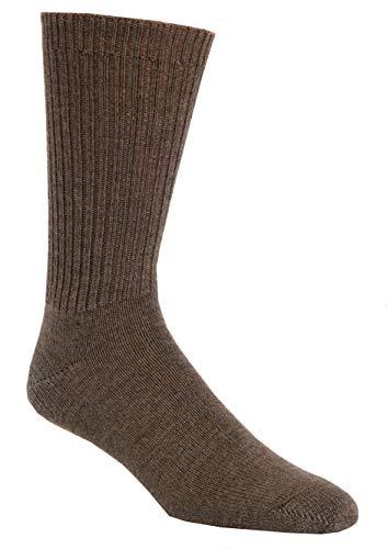 96% Merino Wool Non-binding Casual Socks (3 Pairs) (X-Large (13-16 Shoe), Lt. Brown)