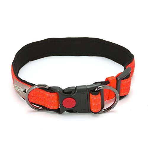 DoggieKit Adjustable Dog Collar with Safety Lock, Padded Soft Reflective Pet Collars with Reflective Strip in Nylon Webbing for Running, Jogging or Walking (L, Fluorescent ()