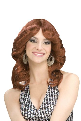 Forum Novelties Women's 70's Disco Doll Costume Wig, Auburn, One Size - Farrah Fawcett Doll
