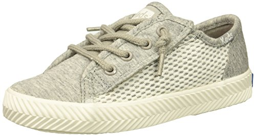 Keds Girls' Kickstart Seasonal Herringbone Jr Sneaker, Light Grey, 8 Medium US Toddler