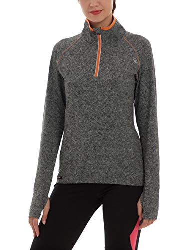 Little Donkey Andy Womens PowerDry Half Zip Pullover Long Sleeve Workout Top