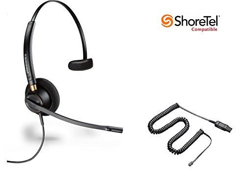 ShoreTel Compatible Plantronics HW510 EncorePro 510 Ultra Noise-Canceling VoIP Headset Bundle for ShoreTel IP Phones: IP 420, 480, 480G, 485 (Noise Headset Ultra Cancelling)