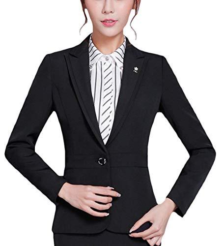 Tailleur Autunno Casual Coat Button Alta Donna Manica Lunga Schwarz Giaccone Di Giacca Fit Giovane Da Bavero Business Ovest Slim Qualità nqOXE1UBU
