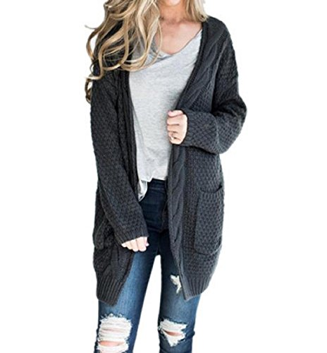 CNFIO Womens Long Sleeve Sweater Cardigan Open Front Loose Chunky Outwear with Pockets (2XL, Dark Grey) ()