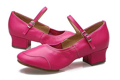 Womens Leahter Jazz Boots Latino Salsa Rumba Chacha Scarpe Da Ballo Pratica Rosa