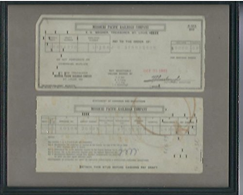 Missouri Pacific Railroad Company Payment Check and Stub