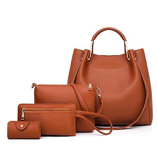 Brown De Bolsas Set 4 pcs Compuestas Cuero Moda Pu Mujeres Bolsos Las Meaeo Para Cubo Hombro Sólido aU5qSxp