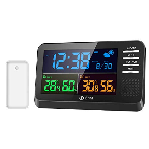 AMIR Weather Station, Large Color Display Clock Calendar with Alarm Clock, Snooze Function, Wireless Forecast Station with Sensor, Indoor Outdoor Thermometer for Home,Bedroom