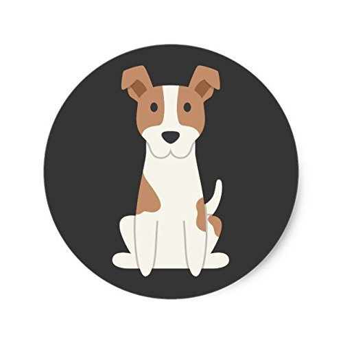 Lancy's Artwork Jack Russell Terrier Illustration Classic Round Sticker - Sticker Graphic - Auto, Wall, Laptop, Cell, Truck Sticker for Windows, Cars, ()