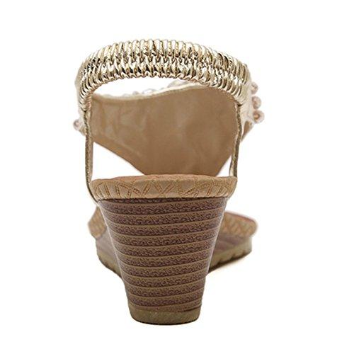 Señoras Romanas De Sandalias Gold Cuña Zapatillas Tangas On Flops Shoes Slip Rhinestone Pool Verano Beach Flip Boho FqOFwtErxn
