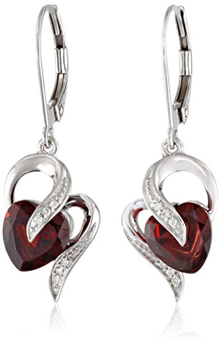 10k White Gold Garnet and Diamond Accent Heart Drop Earrings (Gold Earrings Garnet White)