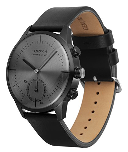 LANZOOM Series Oder Fashion Multifunctional 3 Buttons Quartz Hybrid Smart Watch 41mm Stainless Steel Case Italian Leather Band For Men (Grey + Black) by LANZOOM