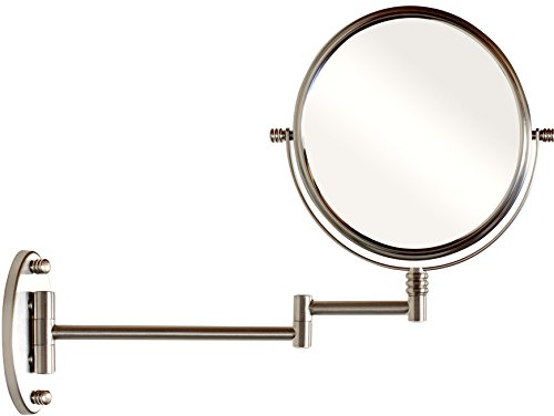 (DecoBros 9.8-Inch Two-Sided Swivel Wall Mount Mirror with 7x Magnification, 13.5-Inch Extension, Nickel)