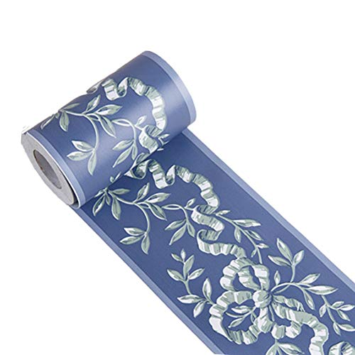 Royal Blue Floral Wall Border Peel and Stick Ceiling Border Wallpaper Vinyl Waterproof Decoration Decal Sticker,4.2inch by 390inch
