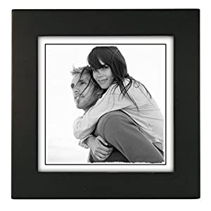 Malden 5x5  Picture Frame - Wide Real Wood Molding, Real Glass - Black