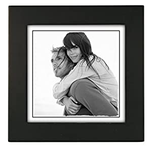 malden international designs linear classic wood picture frame 5x5 black