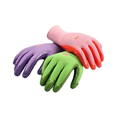 G & F 15226M Women's Garden Gloves, nitrile coated work gloves, assorted colors. Women's Medium (Pack of 6)