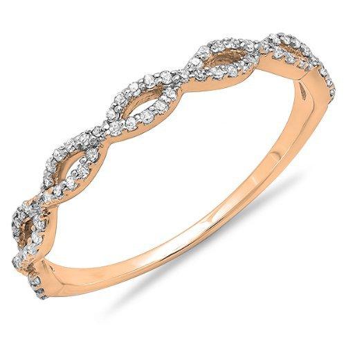 0 20 Carat Ctw 10k Rose Gold Round Diamond Ladies Swirl
