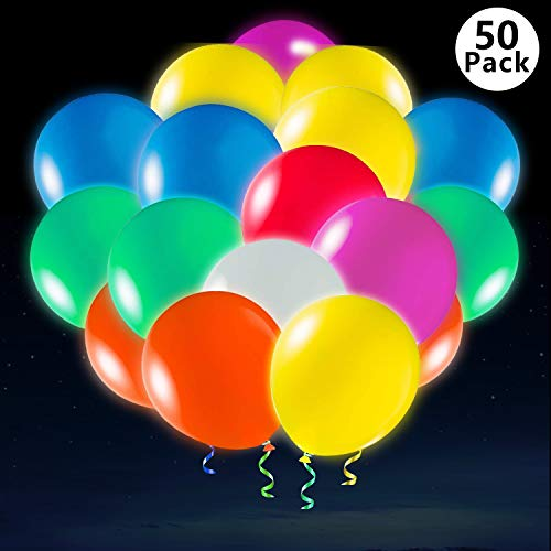 Xstar 50 Pack Flashing LED Balloons Light Up Party Glow in The Dark Balloons Bulk Party Decroation for Halloween,Christmas,Celebration,Birthday,Wedding ,etc,Lasts12-24 Hours,45+5Free Gift(50PCS) ()