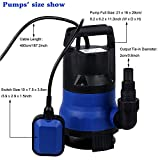 Electric Submersible Water Pump, 1/2 HP Water Pump 400W 2000GPH Submersible Sump Pump With Integrated Vertical Float Switch For Home Swimming Pool(US STOCK) (Blue)