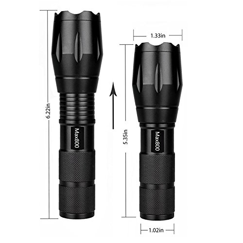 2Pcs Tactical Flashlight Water Resistant Military Grade Tac Light with 5 Modes & Zoom Function Ultra Bright Torch
