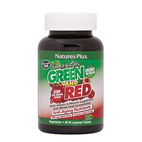 Natures Plus Source of Life Green and Red - 500 mg Spirulina, 90 Vegetarian Tablets, Bilayer - Green & Red Superfood Supplement, Energy Booster, Antioxidant - Gluten Free - 30 Servings