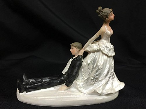 Bride Pulling the Drunk Groom Cake Top Centerpiece