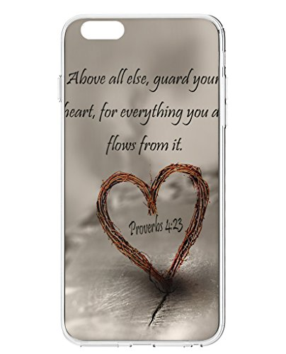 UKASE Hard Back Cover Cases for 2015 iPhone 6S Plus (5.5 inch) with Bible Quotes Above All Else, Guard Your Heart, for Everything You Do Flows from It