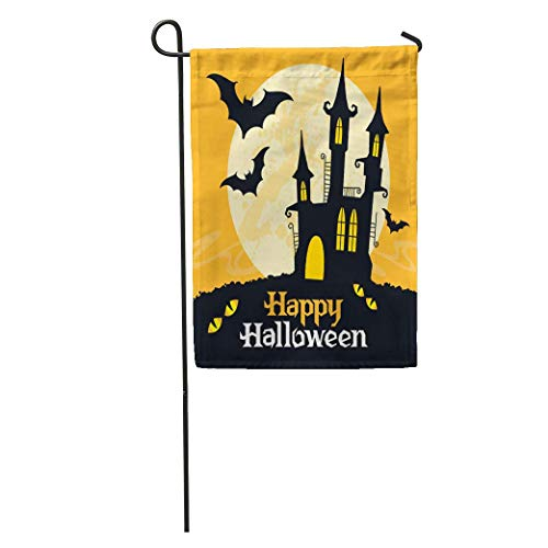 Andrea Back Garden Flag Orange Happy Halloween Bat Party Castle Silhouette Cat Moon Cartoon Home Yard House Decor Barnner Outdoor Stand 12x18 Inches Flag