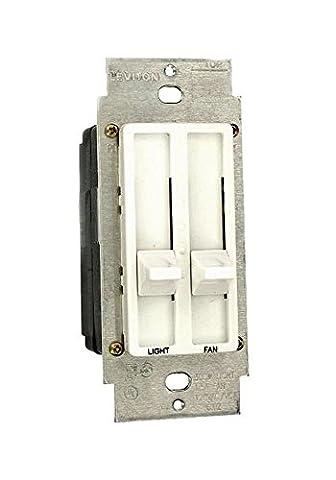 012-06630-00w Sureslide White Dual Quiet Fan Speed / Light Control - 06630 (L02) - Quiet Electronic Low Voltage Dimmer