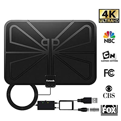 [Upgraded 2019] Totech Digital Amplified Indoor HD TV Antenna 80-120 Miles Range, Amplifier Signal Booster Support 4K 1080P Freeview HDTV Channels, 16.5ft Coax Cable
