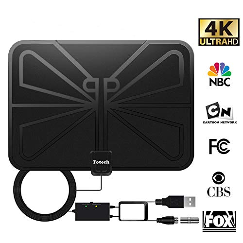 ([Upgraded 2019] Totech Digital Amplified Indoor HD TV Antenna 80-120 Miles Range, Amplifier Signal Booster Support 4K 1080P Freeview HDTV Channels, 16.5ft Coax Cable)