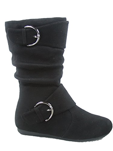 (Link Klein-70k Girl's Kid's Faux Suede Two Buckle Zipper Flat Heel Mid Calf Slouchy Boot Shoes (9 B(M) US, Black))