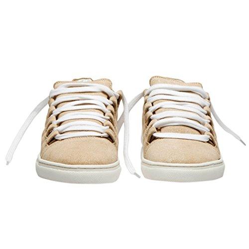 Femme Loisirs Marche de Mode Chaussures Cuir TD004 Plat Fresteel Outdoor Orabelle Lacets Almond Almond Baskets Fresteel TEDISH Dames Confortable zxq54YYw