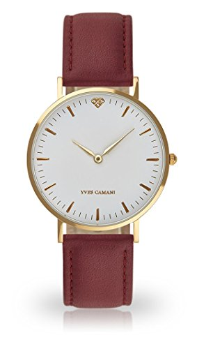 YVES CAMANI Amelie Women's Wrist Watch Quartz Analog Red Leather Strap White Dial YC1097-B-746