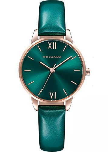Nice Fashion Lively Green Ladies' Dress Quartz Wrist Watch Swiss Brand Waterproof Rose Gold Case Small Wrist Women Watch Matching for Green Wear