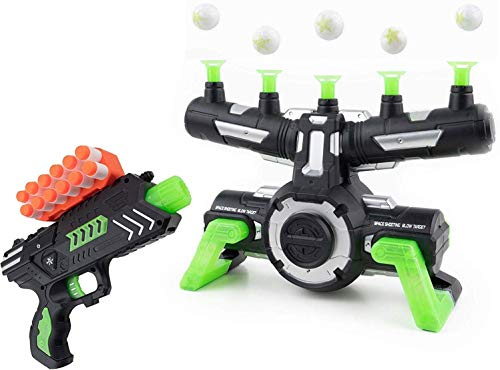 Pidoko Kids Targets Shooting Game Compatible with Nerf - Floating Darts for Target Practice, with Blaster - Toy Guns for Boys or Girls and Foam Darts - Glow in The Dark with Music New Edition (Hovering Target Shooting Game)