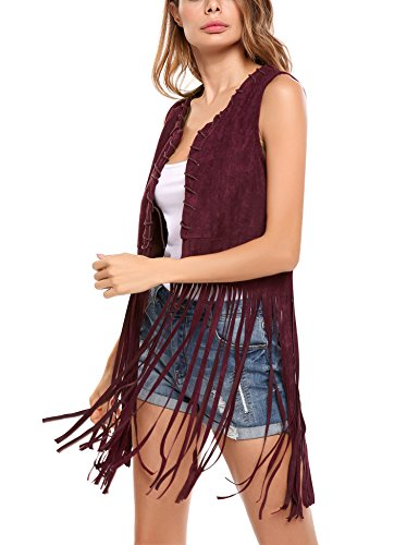 Hotouch Fringe Vests 70s Clothes Women Loose Faux Suede Vest Front Open Top Design Plus Size Sleeveless Blouses (WineRed XL) -