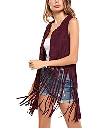 726ef394373 Women Fringe Vest Faux Suede Tassels 70s Hippie Costume Open-Front  Sleeveless Vest Cardigan Female