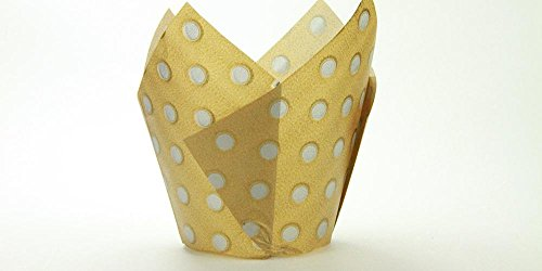 (250pc Tulip Liner Gold with Silver Dots)