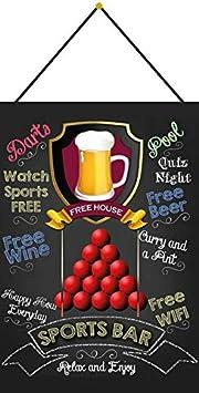 Generisch Cartel de Chapa 20 x 30 cm Curvado con cordón Sports Bar Piscina Pub Kneipe Bar Decoración Regalo Cartel Tin Sign